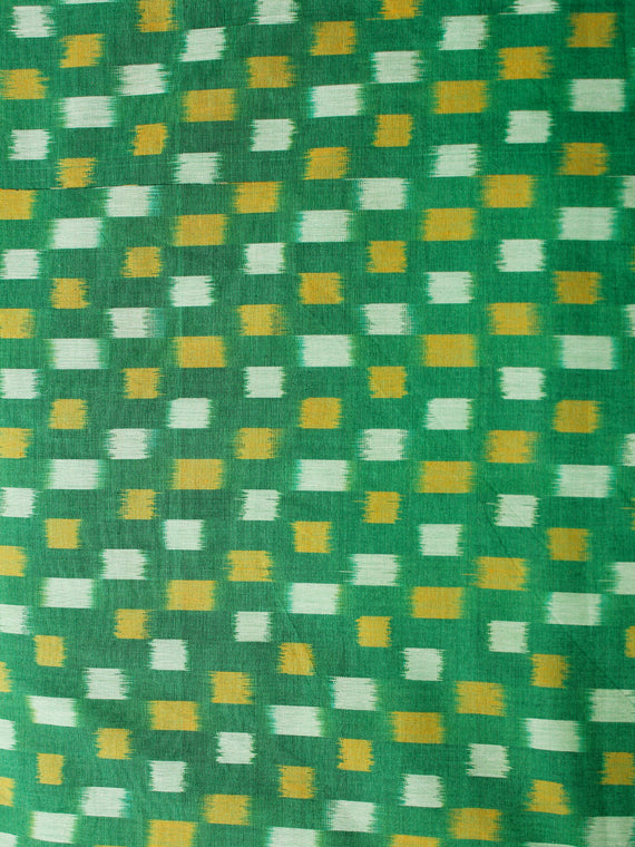 Green Mustard Pochampally Hand Weaved Ikat Mercerised Cotton Fabric Per Meter - F002F1977