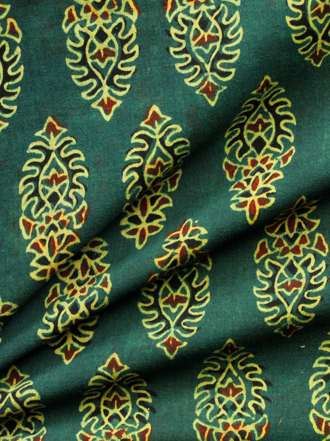 Green Yellow Red Black Ajrakh Hand Block Printed Cotton Fabric Per Meter - F003F1608