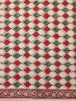 Red Green Beige Hand Block Printed Cotton Fabric Per Meter - F001F2472