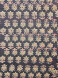 Black Olive Green Pink Ivory Ajrakh Hand Block Printed Cotton Fabric Per Meter - F003F1537