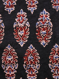 Black Ivory Blue Red Ajrakh Hand Block Printed Cotton Fabric Per Meter - F003F1607