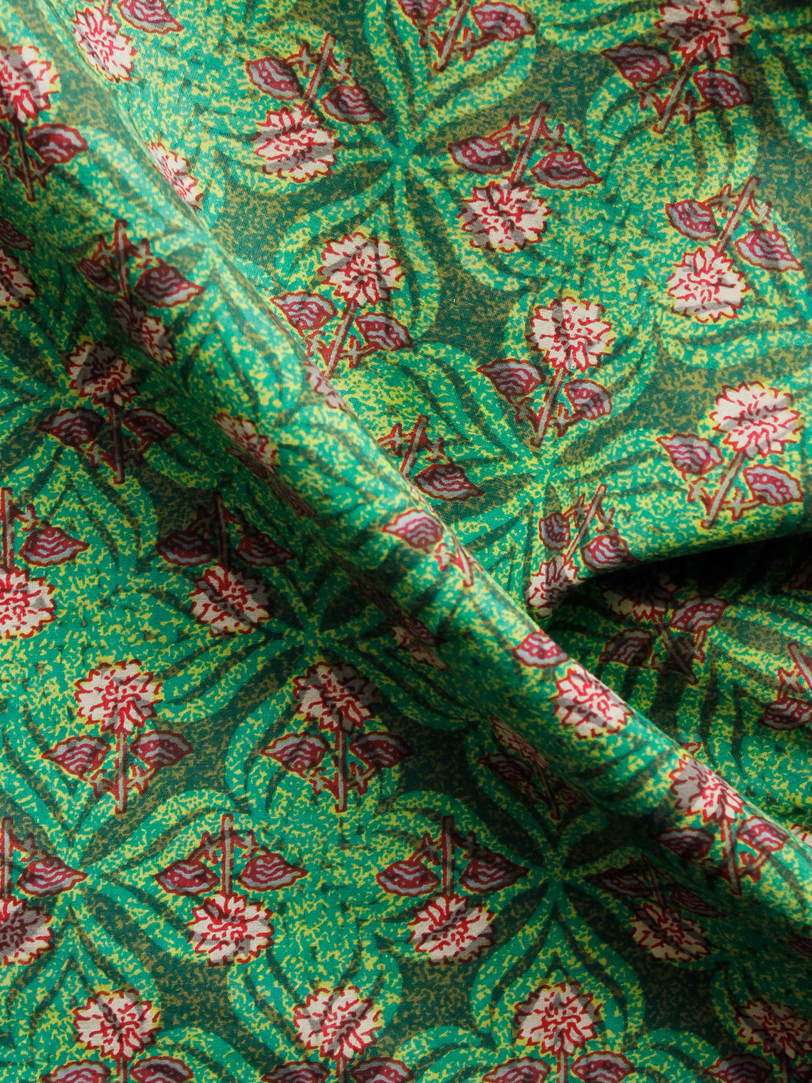 Green Maroon Beige Hand Block Printed Cotton Fabric Per Meter - F001F1364