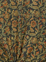 Green Yellow Black Rust Ajrakh Block Printed Cotton Fabric Per Meter - F003F1767