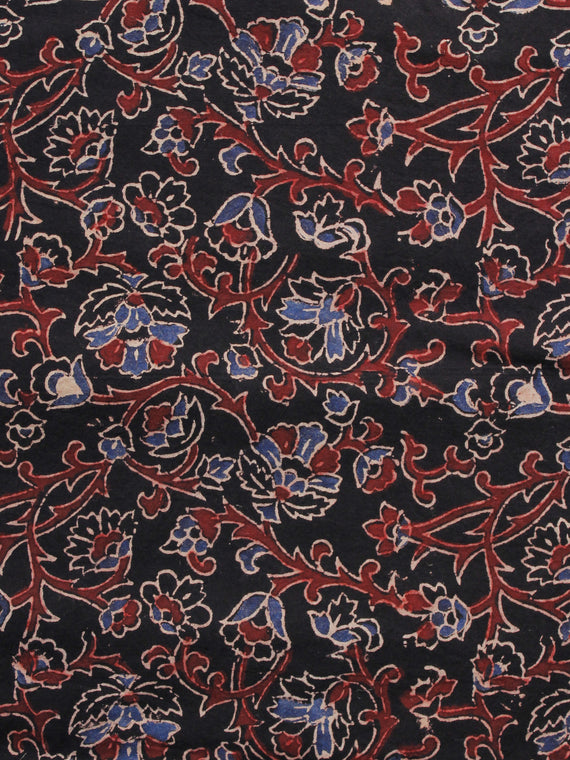 Black Rust Blue Ivory Ajrakh Hand Block Printed Cotton Blouse Fabric - BPA059