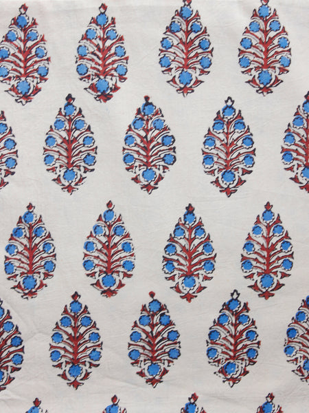 Ivory Red Indigo Ajrakh Hand Block Printed Cotton Fabric Per Meter - F003F1538