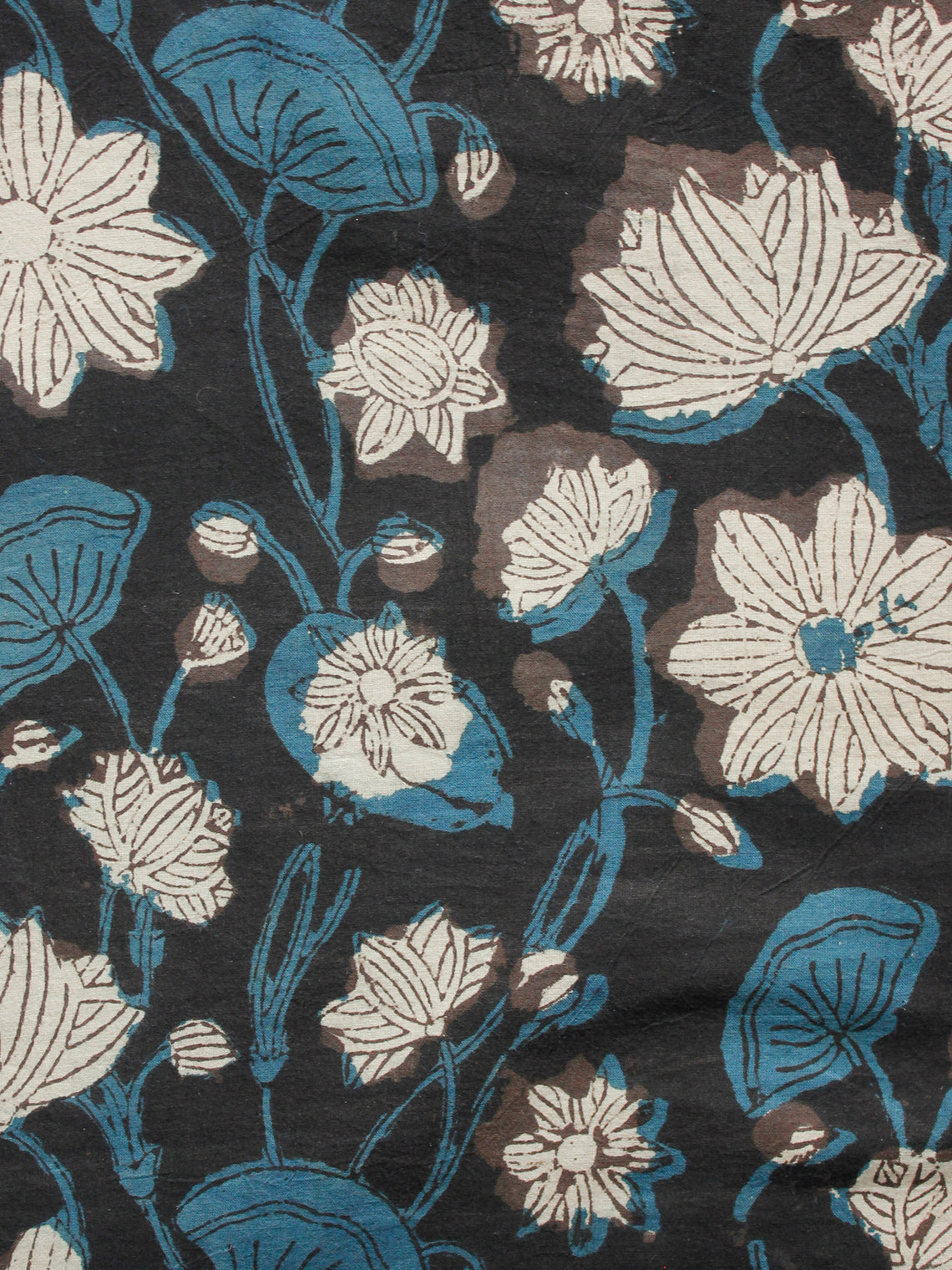 Black Blue Brown Beige Hand Block Printed Cotton Fabric Per Meter - F001F1365