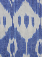White Blue Pochampally Hand Weaved Ikat Fabric Per Meter - F003F1248