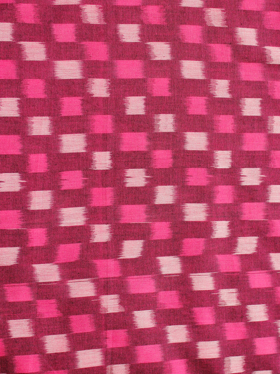 Fuscia Pink Ivory Magenta Pochampally Hand Weaved Ikat Mercerised Cotton Fabric Per Meter - F002F1981