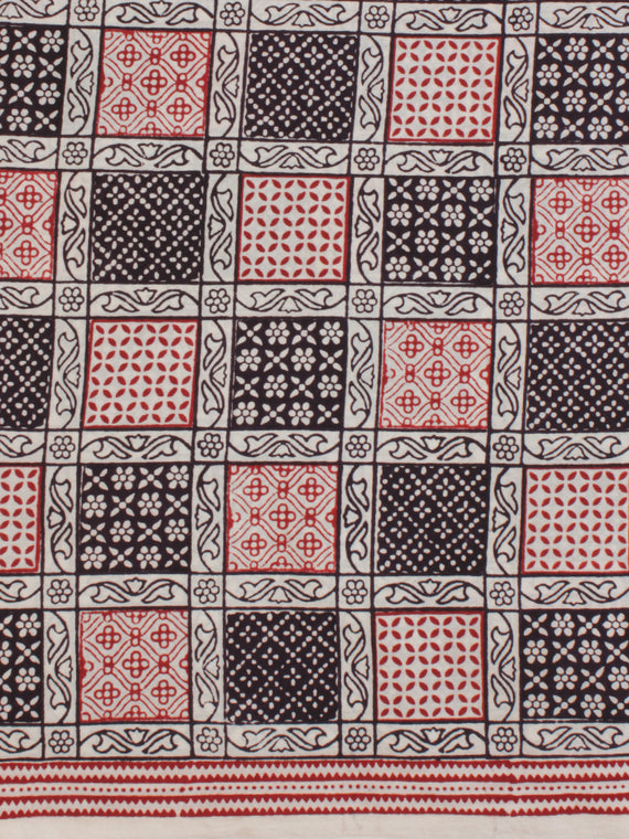 White Red Black Ajrakh Hand Block Printed Cotton Fabric Per Meter - F003F2088