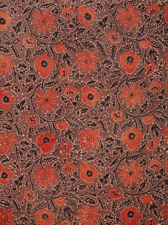 Brown Red Black Beige Ajrakh Hand Block Printed Cotton Fabric Per Meter - F003F1769