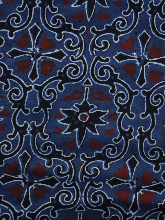 Indigo Ivory Black Rust Ajrakh Hand Block Printed Cotton Blouse Fabric - BPA036