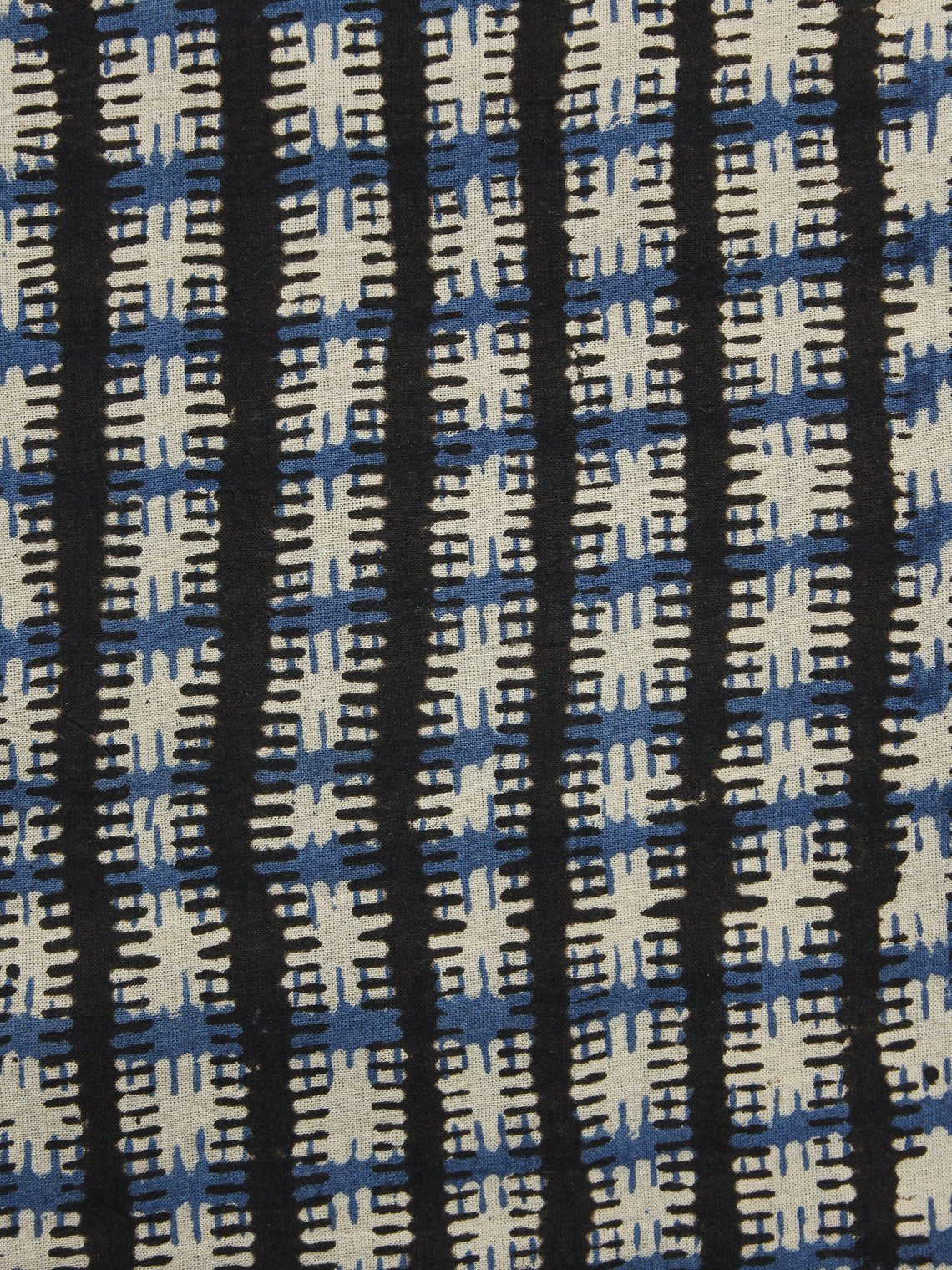 Indigo Black Ivory Hand Block Printed Cotton Fabric Per Meter - F001F1082