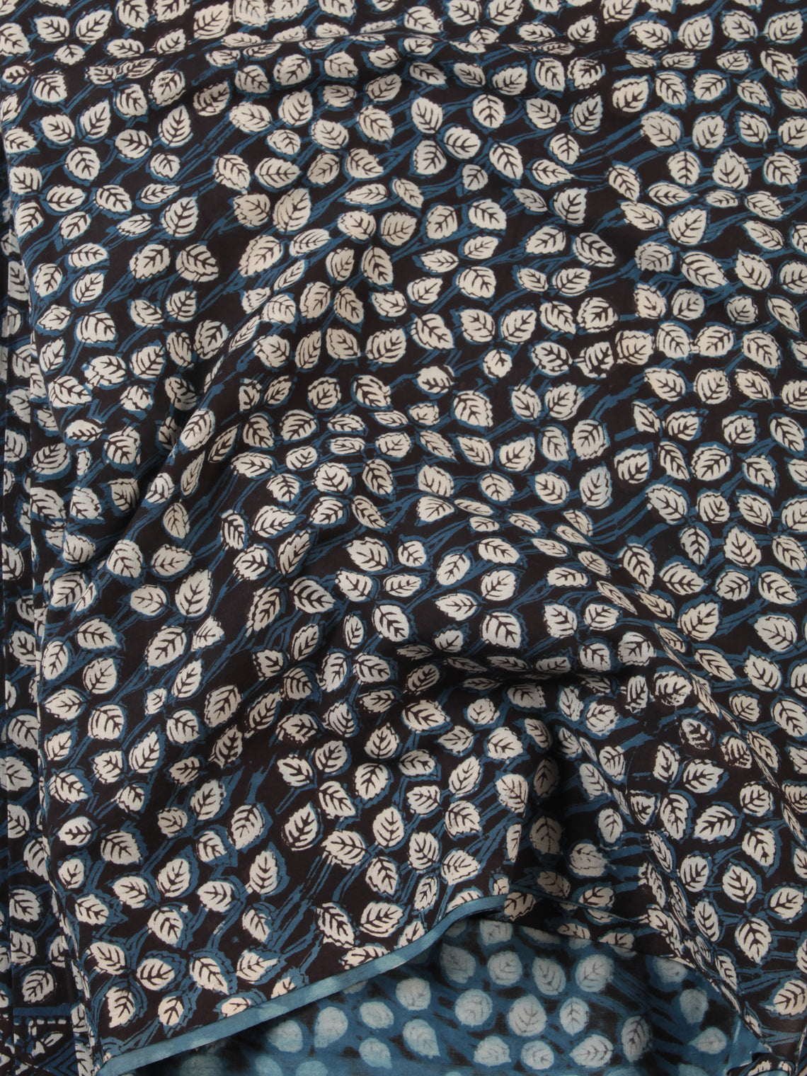 Indigo Black Hand Block Printed Cotton Fabric Per Meter - F001F2471