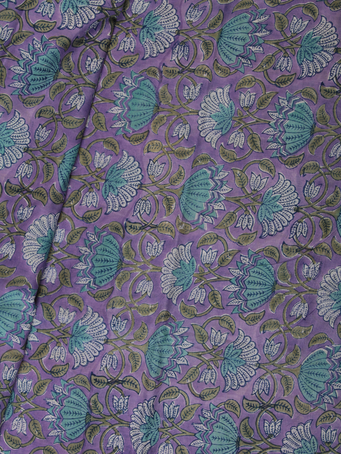 White Lavendar  Sea Green Hand Block Printed Cotton Fabric Per Meter - F001F2364
