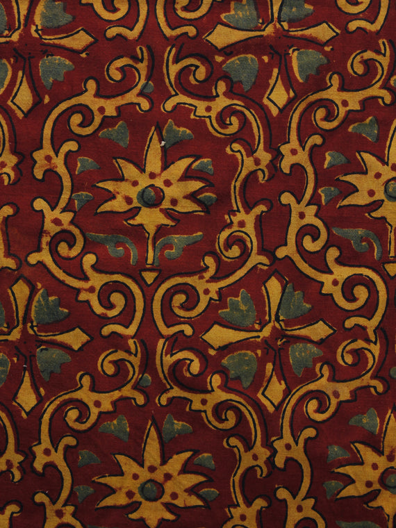 Maroon Rust Orange Green Ajrakh Hand Block Printed Cotton Blouse Fabric - BPA037