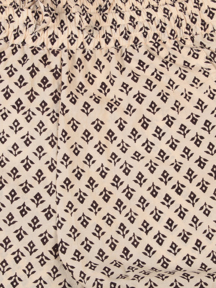OffWhite Black Hand Block Printed Cotton Fabric Per Meter - F001F2473