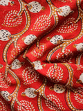 Red Beige Black Hand Block Printed Cotton Fabric Per Meter - F001F1367