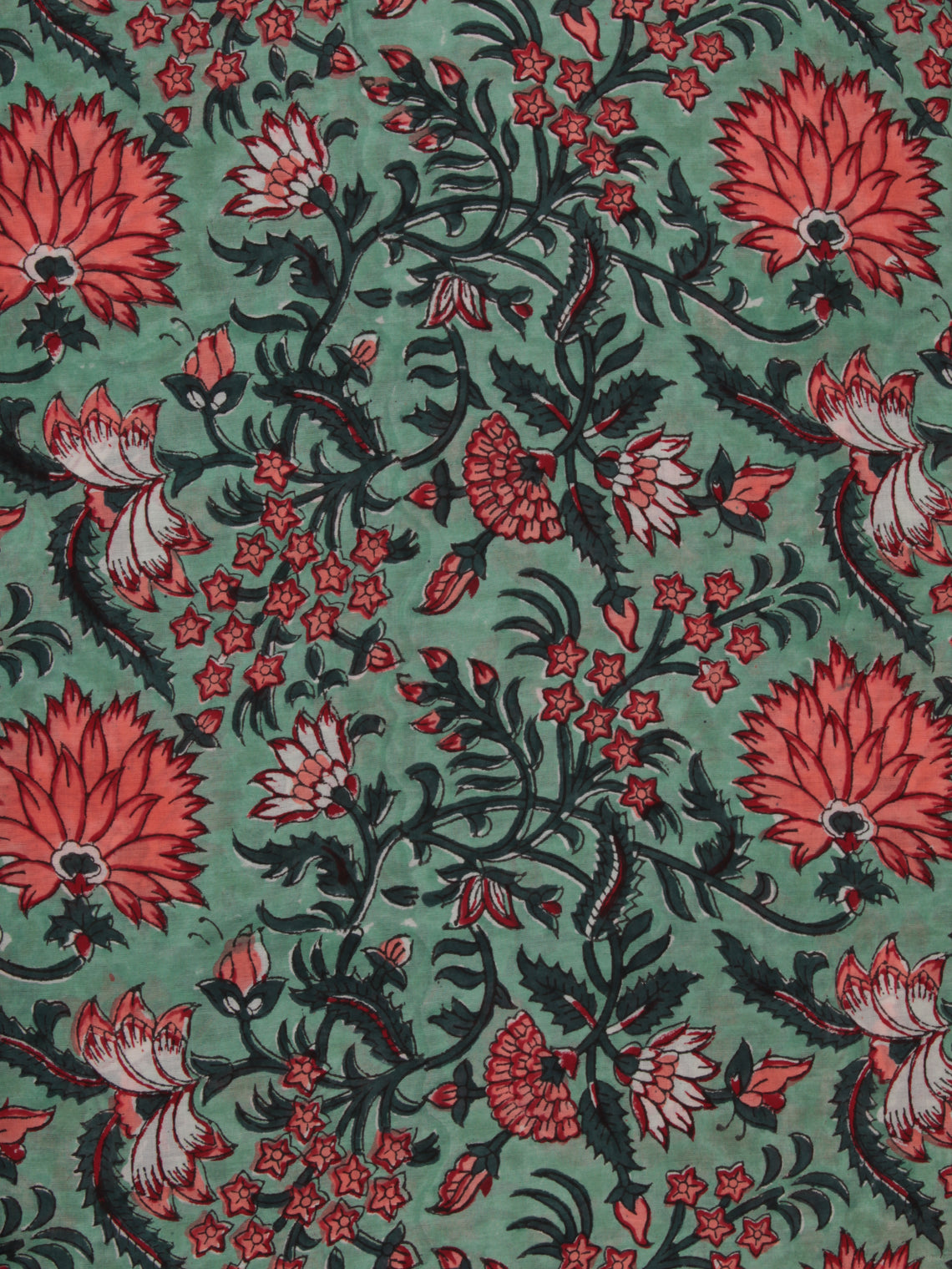 Green Coral White Hand Block Printed Cotton Fabric Per Meter - F001F2362
