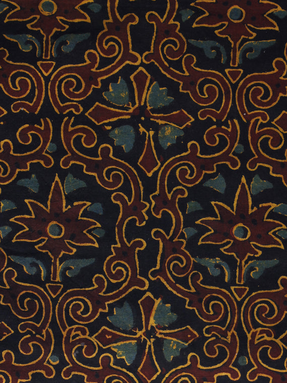 Brown Blue Rust Orange Ajrakh Hand Block Printed Cotton Blouse Fabric - BPA038
