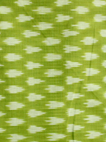 Lemon Green Ivory Pochampally Hand Weaved Ikat Mercerised Cotton Fabric Per Meter - F002F1982
