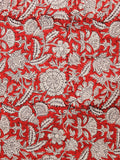 Red Beige Black Hand Block Printed Cotton Fabric Per Meter - F001F1368