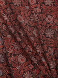 Black Rust Blue Biege Ajrakh Hand Block Printed Cotton Fabric Per Meter - F003F1771