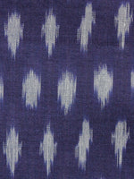 Indigo Grey Pochampally Hand Weaved Ikat Mercerised  Fabric Per Meter - F002F1439