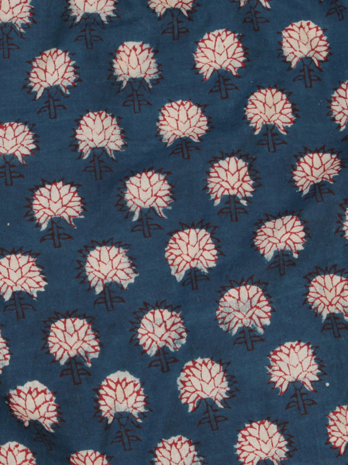 Indigo OffWhite Red Hand Block Printed Cotton Fabric Per Meter - F001F2474