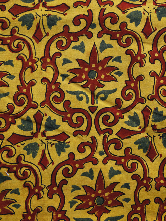 Yellow Maroon Green Ajrakh Hand Block Printed Cotton Blouse Fabric - BPA039