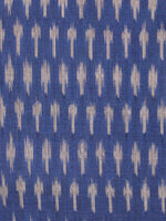Indigo Grey Pochampally Hand Weaved Ikat Mercerised Fabric Per Meter - F002F1440