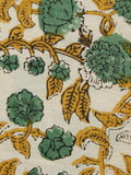 Beige Green Mustard Black Hand Block Printed Cotton Fabric Per Meter - F001F1369