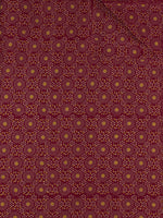 Maroon Mustard Block Printed Cotton Fabric Per Meter - F0916709