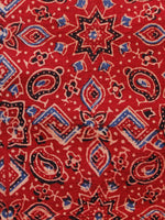 Red Black Blue Ivory Ajrakh Hand Block Printed Cotton Fabric Per Meter - F003F1578