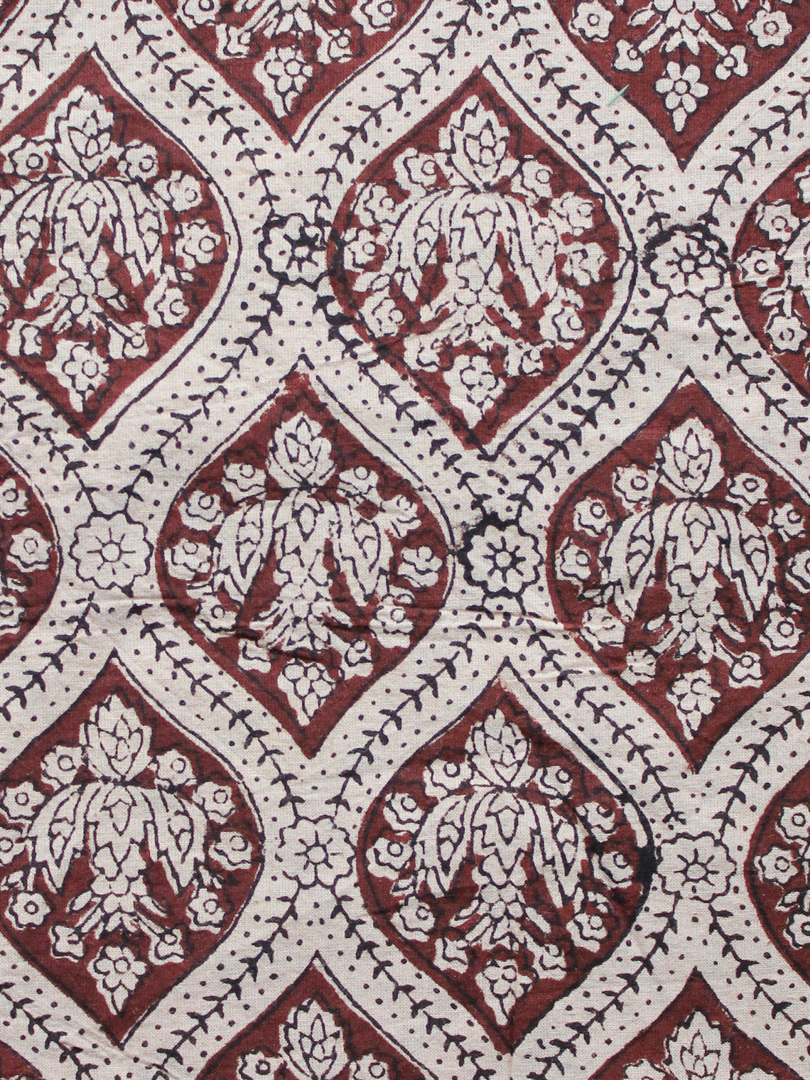 Beige Brown Black Hand Block Printed Cotton Fabric Per Meter - F001F1334
