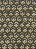 Green Indigo Beige Hand Block Printed Cotton Fabric Per Meter - F001F1738