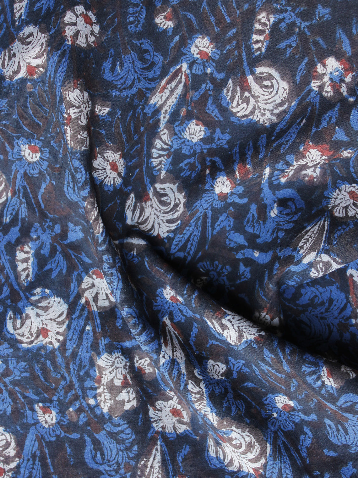 Indigo Blue Brown Ivory Hand Block Printed Cotton Fabric Per Meter - F003F1217