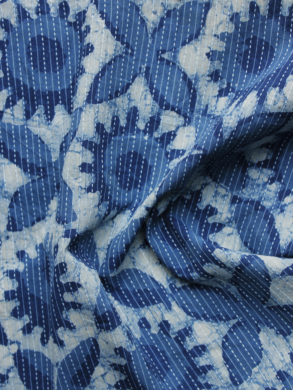 Indigo Ivory Kantha Embroidered Hand Block Printed Cotton Fabric - F004K1131