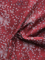 Maroon Pink Black Hand Block Printed Cotton Fabric Per Meter - F001F1150