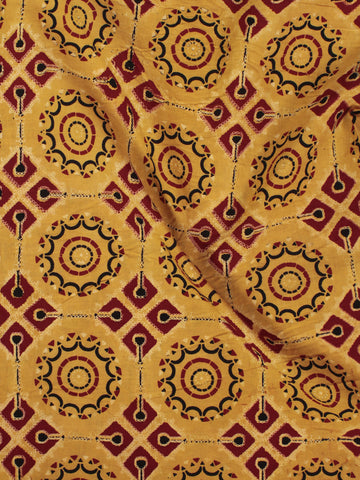 Mustard Yellow Maroon Black Ajrakh Printed Cotton Fabric Per Meter - F003F865