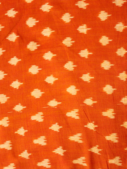 Orange Yellow Pochampally Hand Weaved Ikat Mercerised Cotton Fabric Per Meter - F002F1984