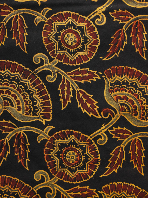 Black Yellow Brown Ajrakh Hand Block Printed Cotton Blouse Fabric - BPA064