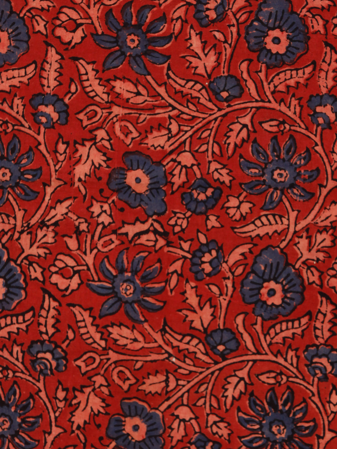 Red Indigo Black Beige Ajrakh Hand Block Printed Cotton Fabric Per Meter - F003F1773