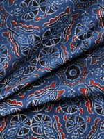 Indigo Red Ivory Black Ajrakh Hand Block Printed Cotton Fabric Per Meter - F003F1613