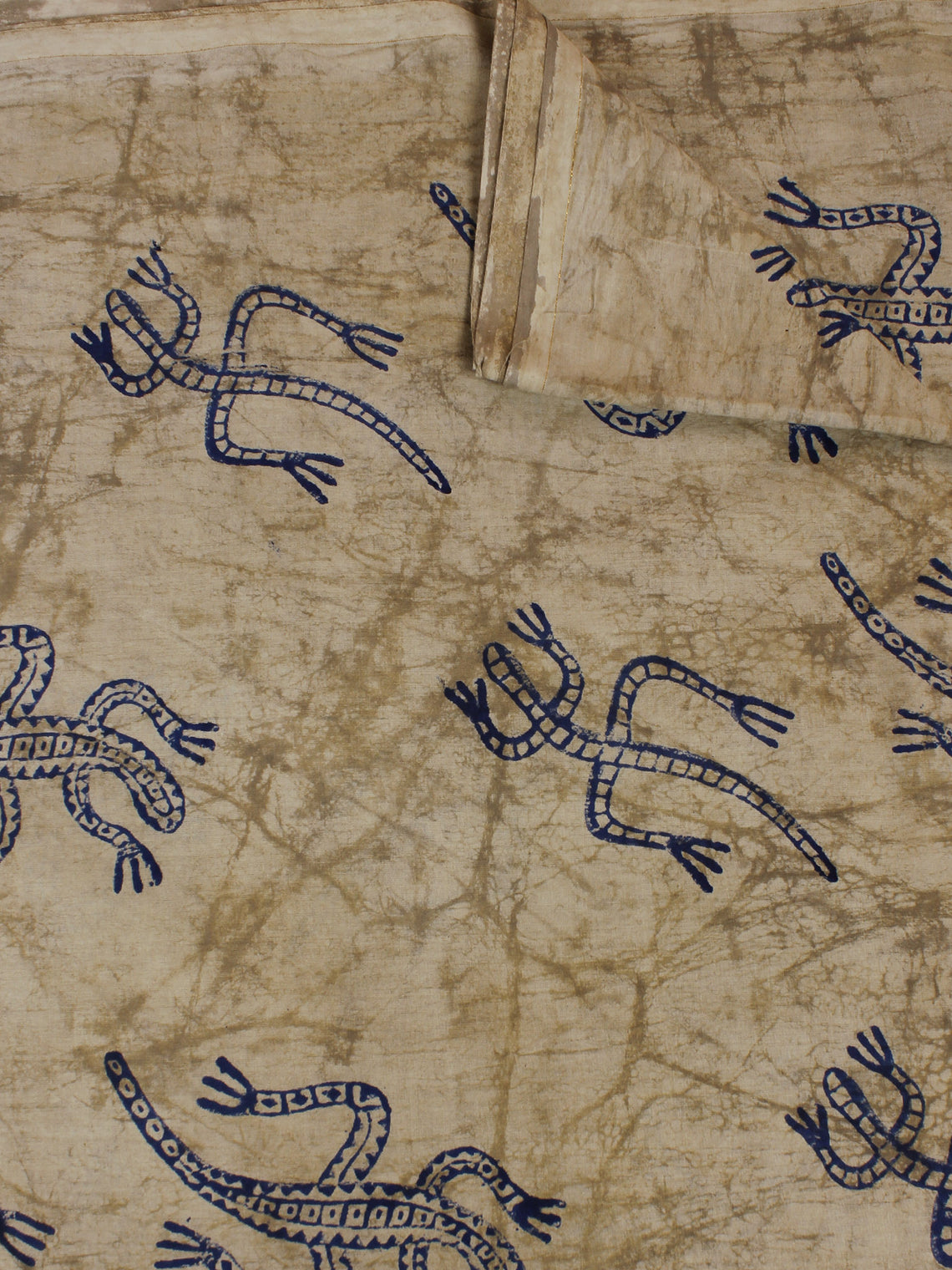 Beige Blue Hand Block Printed Cotton Cambric Fabric Per Meter - F0916127