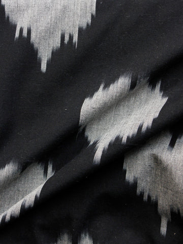 Black Grey Pochampally Hand Woven Ikat Cotton Fabric Per Meter - F002F1442
