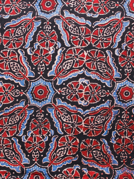 Black Red Ivory Blue Ajrakh Hand Block Printed Cotton Fabric Per Meter - F003F1615