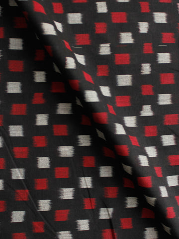Black Red Grey Pochampally Hand Weaved Ikat Mercerised Cotton Fabric Per Meter - F002F1986