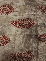 Beige Red Hand Block Printed Cotton Cambric Fabric Per Meter - F0916125