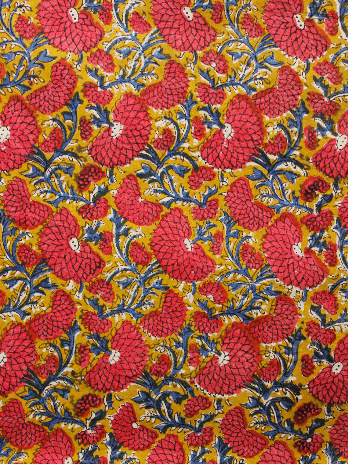Mustard Red Indigo Hand Block Printed Cotton Fabric Per Meter - F001F1373