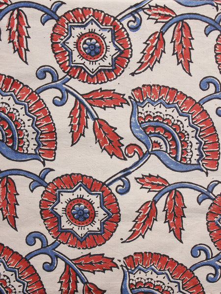 Baby Pink Red Black Blue Ajrakh Hand Block Printed Cotton Blouse Fabric - BPA067
